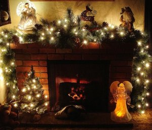 christmas garlands for fireplace pKfS