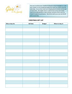 christmas gift list template wRsy