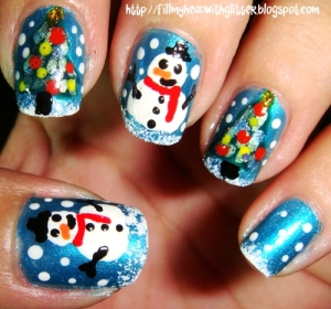 christmas tree nail art HTgY